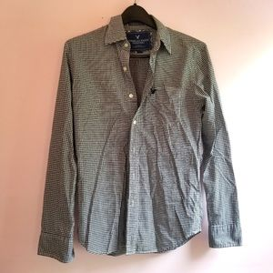 Men's Black and White Checkered Button Up Shirt